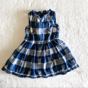 Navy Blue and White Gingham Twirl Dress - 4T